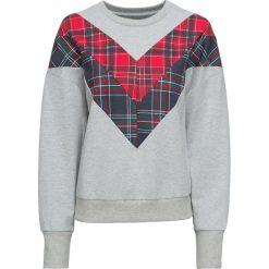 Bluzy damskie: Bluza z wstawką w kratę bonprix jasnoszary melanż - czerwony w kratę