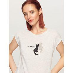 T-shirt z cekinami - Jasny szar. Czarne t-shirty damskie marki Reserved, l. Za 29,99 zł.