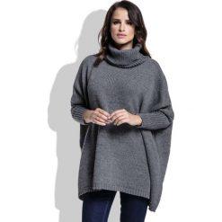 Swetry oversize damskie: Grafitowy Sweter Ciepły Luźny z Golfem