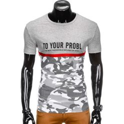 T-shirty męskie: T-SHIRT MĘSKI Z NADRUKIEM S859 – SZARY