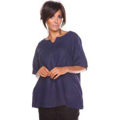 """Bluzki asymetryczne: Lniana koszulka """"Shirane"""" w kolorze granatowym"""