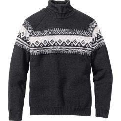 Sweter z golfem Regular Fit bonprix antracytowy melanż. Szare golfy męskie marki bonprix, l, melanż. Za 109,99 zł.