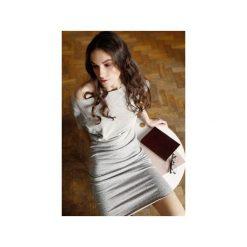 Sukienki asymetryczne: Wygodna Dzianinowa Sukienka do kolan szary melanż