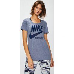 Nike Sportswear - Top. Szare topy sportowe damskie Nike Sportswear, m, z nadrukiem, z bawełny, z krótkim rękawem. W wyprzedaży za 69,90 zł.