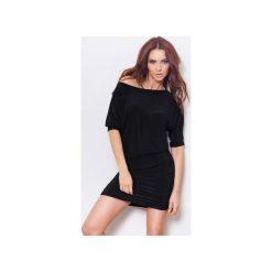TUNIKA SUKIENKA MARSZCZONA CZARNA. Czarne sukienki na komunię marki bonprix, na co dzień, z szyfonu. Za 159,99 zł.