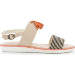Rzymianki damskie: Skórzane płaskie sandały