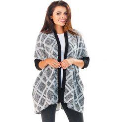 Kardigany damskie: Sweter we Wzory z Czarnymi Ściągaczami Wzór – Romby