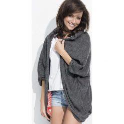 Swetry oversize damskie: Grafitowy Sweter Narzutka z Kapturem