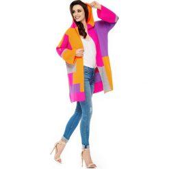 Swetry damskie: Fuksja Pomarańczowy Kardigan z Kapturem i Rozszerzanymi Rękawami