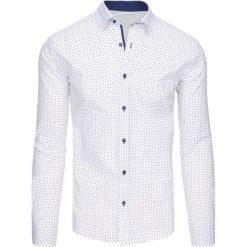 Koszule męskie na spinki: Biała koszula męska we wzory z długim rękawem (dx1442)