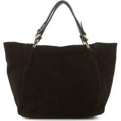 Torebki i plecaki damskie: Skórzany shopper bag w kolorze czarnym – 42 x 40 x 20 cm