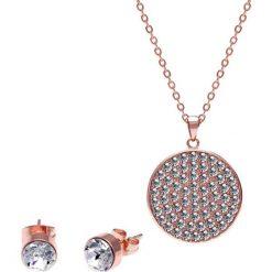 Kolczyki damskie: 2-częściowy zestaw w kolorze różowego złota – kolczyki, naszyjnik
