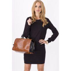 Sukienki dresowe: Czarna Kobieca Dzianinowa Sukienka z Długim Rękawem