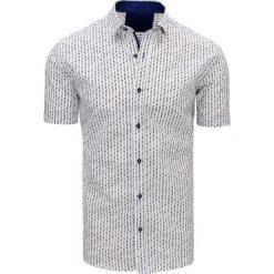 Koszule męskie na spinki: Biała koszula męska we wzory (kx0807)