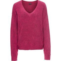 Swetry oversize damskie: Sweter dzianinowy oversize bonprix jeżynowy melanż