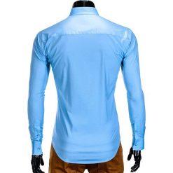 KOSZULA MĘSKA ELEGANCKA Z DŁUGIM RĘKAWEM K307 - BŁĘKITNA. Brązowe koszule męskie na spinki marki Ombre Clothing, m, z aplikacjami, z kontrastowym kołnierzykiem, z długim rękawem. Za 59,00 zł.