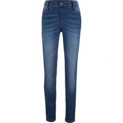 """Dżinsy SKINNY z wygodnym paskiem bonprix niebieski """"stone"""". Niebieskie jeansy damskie marki bonprix, z nadrukiem. Za 99,99 zł."""