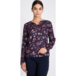 Bluzki asymetryczne: Granatowa bluzka w kwiaty QUIOSQUE