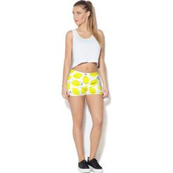 Spodnie damskie: Colour Pleasure Spodnie damskie CP-020 65 biało-żółte r. XXXL-XXXXL