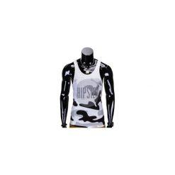 BOKSERKA MĘSKA Z NADRUKIEM S805 - ECRU. Szare t-shirty męskie z nadrukiem Ombre Clothing, m. Za 29,00 zł.