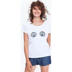 T-SHIRT KRÓTKI RĘKAW DAMSKI Z APLIKACJĄ W MUSZELKI. Szare t-shirty damskie Top Secret, z aplikacjami, z bawełny. Za 19,99 zł.
