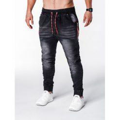 SPODNIE MĘSKIE JEANSOWE JOGGERY P648 - CZARNE. Czarne joggery męskie marki Ombre Clothing, z bawełny. Za 75,00 zł.