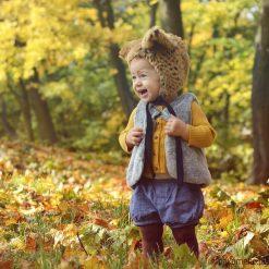 Czapka bonetka Ryś. Zielone czapeczki niemowlęce N/A, w kwiaty, z bawełny. Za 78,00 zł.