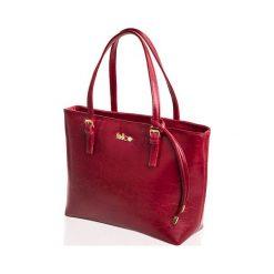 SKÓRZANA SHOPPERKA  GOLD LUNA BORDOWA. Czerwone torby na laptopa FeliceGold, w paski, z bawełny. Za 399,00 zł.