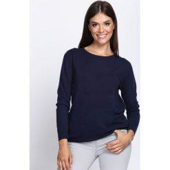 Granatowy Sweter In My Feelings. Niebieskie swetry klasyczne damskie Born2be, l, z okrągłym kołnierzem. Za 74,99 zł.