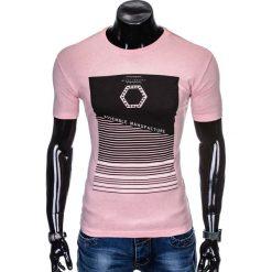 T-shirty męskie: T-SHIRT MĘSKI Z NADRUKIEM S879 - RÓŻOWA