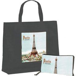 """Torba """"Paris"""" w kolorze szarym ze wzorem na zakupy - 46 x 40 x 19 cm. Szare shopper bag damskie Éditions Clouet, z nadrukiem, z tworzywa sztucznego, z nadrukiem. W wyprzedaży za 24,95 zł."""