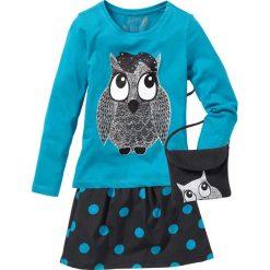 Shirt, spódnica i torebka (3 części) bonprix czarno-ciemnoturkusowy. Czarne spódniczki dziewczęce marki bonprix, w paski, z dresówki. Za 74,99 zł.