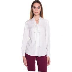 Bluzki asymetryczne: Bluzka ecru wiązana szarfą BIALCON