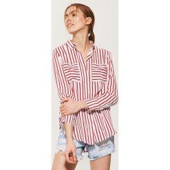 Koszule damskie: Koszula w paski – Czerwony