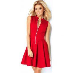 Sukienki: 123-11 sukienka z ekspresem z przodu i kieszonkami - czerwona