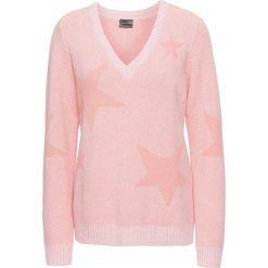 Swetry klasyczne damskie: Sweter bonprix łososiowo-koralowy melanż