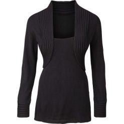 Sweter z bolerkiem 2 w 1 bonprix czarny. Czarne swetry klasyczne damskie bonprix. Za 99,99 zł.
