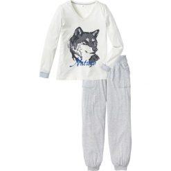 Piżamy damskie: Piżama bonprix biel wełny – jasnoszary melanż