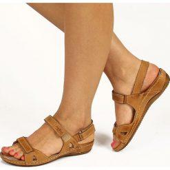 Rzymianki damskie: Sandały damskie skórzane komfortowe brązowe Helios 205
