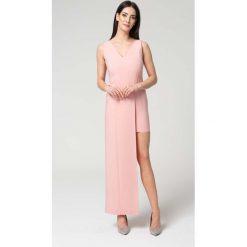 Sukienki: Różowa Wyjściowa Dopasowana Sukienka z Asymetrycznym Dołem