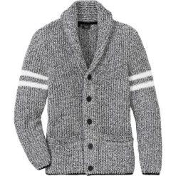 Sweter rozpinany z szalowym kołnierzem  Regular Fit bonprix czarno-dymny szary melanż. Czarne kardigany męskie bonprix, l, melanż, z materiału. Za 109,99 zł.
