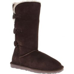 """Buty zimowe damskie: Skórzane kozaki """"Midi"""" w kolorze ciemnobrązowym"""