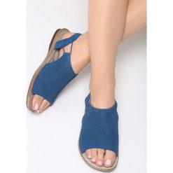 Granatowe Sandały Jasper. Niebieskie sandały damskie marki Born2be, z materiału, na obcasie. Za 79,99 zł.