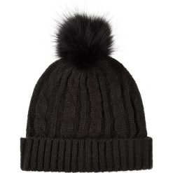 Czapki zimowe damskie: Dzianinowa czapka w kolorze antracytowym