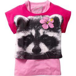 """Shirt """"boxy"""" + top (2 części) bonprix ciemnoróżowo-jasnoróżowy szop pracz. Czerwone bluzki dziewczęce marki bonprix. Za 37,99 zł."""