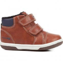 """Sneakersy """"Flick"""" w kolorze brązowym. Niebieskie trampki chłopięce marki geox kids, z gumy. W wyprzedaży za 117,95 zł."""