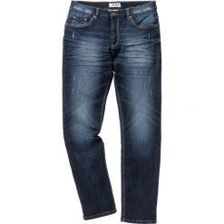 """Dżinsy ze stretchem Slim Fit Straight bonprix ciemnoniebieski """"used"""". Zielone jeansy męskie relaxed fit marki bonprix, w kropki, z kopertowym dekoltem, kopertowe. Za 109,99 zł."""
