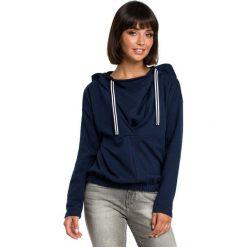 Granatowa Krótka Oryginalna Bluza z Kapturem. Niebieskie bluzy rozpinane damskie Molly.pl, l, z jeansu, z długim rękawem, długie, z kapturem. Za 139,90 zł.