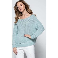 Swetry damskie: Pistacjowy Milutki Sweter z Ażurowymi Wstawkami