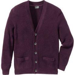 Sweter rozpinany Regular Fit bonprix czarny bez. Fioletowe kardigany męskie marki bonprix, l, w prążki. Za 49,99 zł.